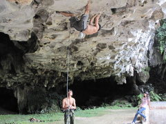Rock Climbing Photo: Chien Lee 5.12 roof route, Sarawak, Malaysia