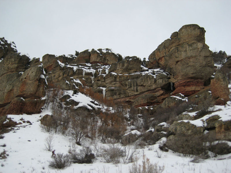 Rock Climbing Photo: Some ice on the left side of the canyon in March 2...