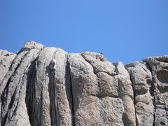 Rock Climbing Photo: Climber on Carol's Crack (left) and at anchors (ri...