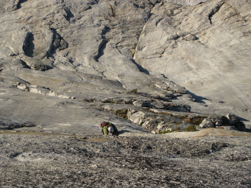 Rock Climbing Photo: the slab slowly steepens  as Erik follows Captain ...