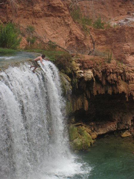 Rock Climbing Photo: jumping the falls