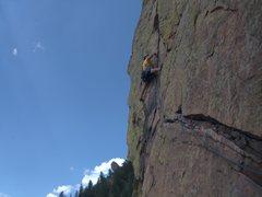 Rock Climbing Photo: Rewritten - crux pitch