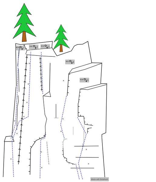 Rock Climbing Photo: Topo: 1. Headstone 2. Tomb Raider 3. Undertaker 4....