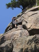 Rock Climbing Photo: Gabe Linncourt nearing the top of P1.