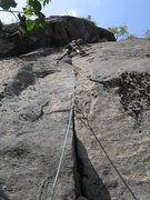 Rock Climbing Photo: Gabe Linncourt enroute to the anchors.
