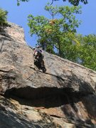 Rock Climbing Photo: Gabe Linncourt works the final crux moves.