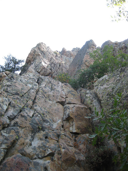 Looking up from the base of Forgotten Arete.