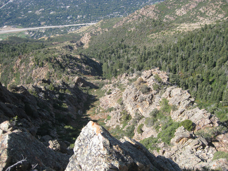 Looking down Forgotten Arete. It climbs better than it looks...