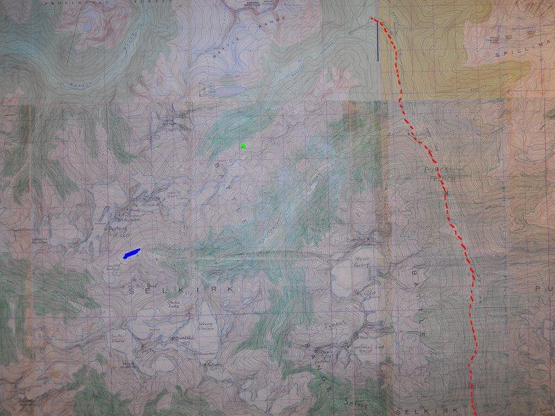 BATTLE RANGE<br> scale 1 : 50,000<br> contour interval 100 feet<br> <br> red dash - Duncan Rd<br> green box - Battle Abbey<br> blue blob - Houston Lk<br> <br> <br>