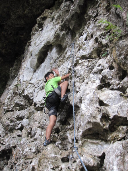 Wey's first climb. Fairy Caves (5.4) He's of the dwindling Bidayu tribal group. Sarawak, Malaysia