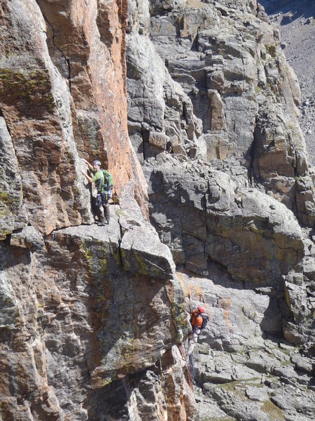 Climbers on the Southwest corner of the Saber.