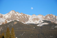 Rock Climbing Photo: Moon over Pilot, late Nov. 2009.