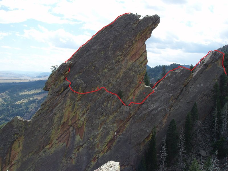 "View of the 5.6 route. The ""P""s are fixed pitons that can be used to back up the thrid pitch. Also, the X is a bolt; however, it is really old and sketchy."