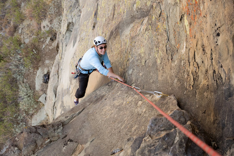 Marisa Fienup climbs Exilis Dihedral, at Derrydale Cliff.