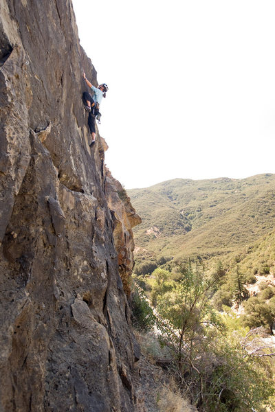 Rock Climbing Photo: Marisa Fienup climbs G.O.P., at Derrydale cliff.  ...