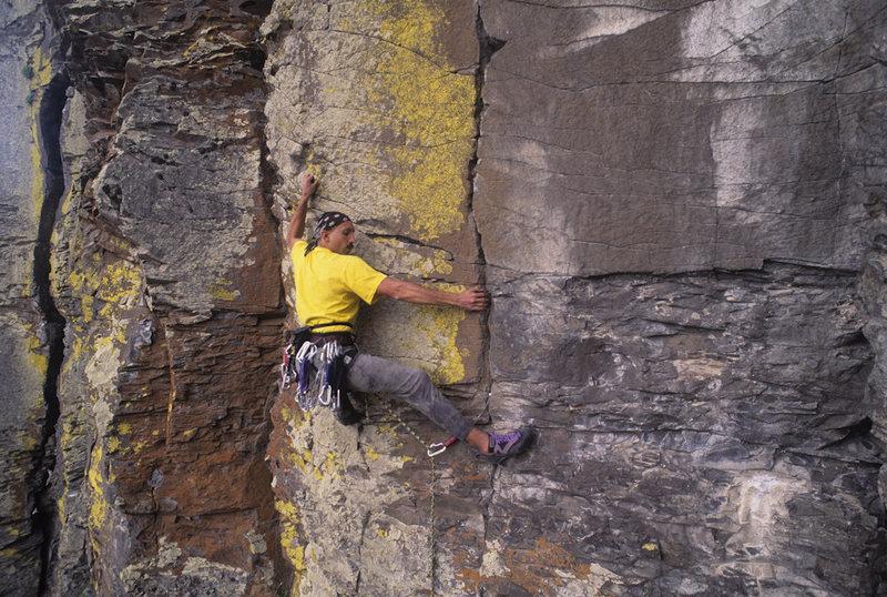 Aldo B. climbing in Smith Rock area