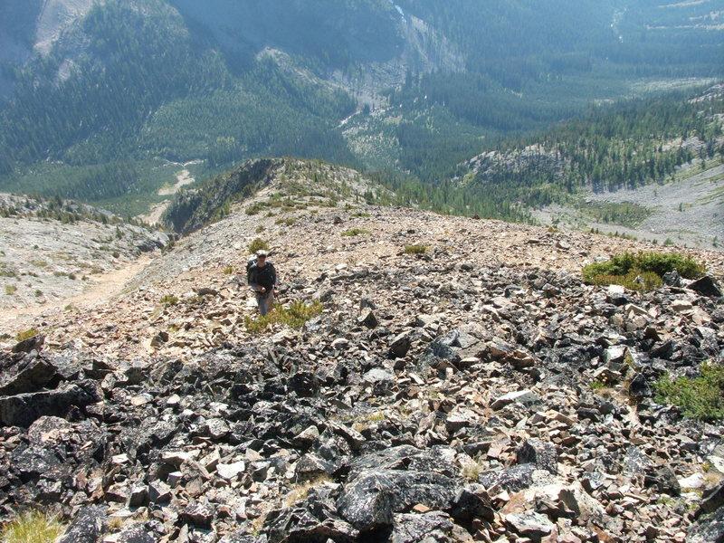 Gaining the West ridge of Mt. Lago