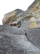Rock Climbing Photo: Almost there! Taking advantage of good knee jams a...
