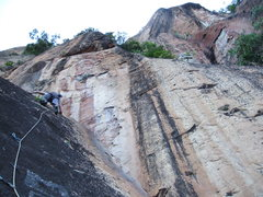 Rock Climbing Photo: Scary run-out slab route. locals cut first bolts f...
