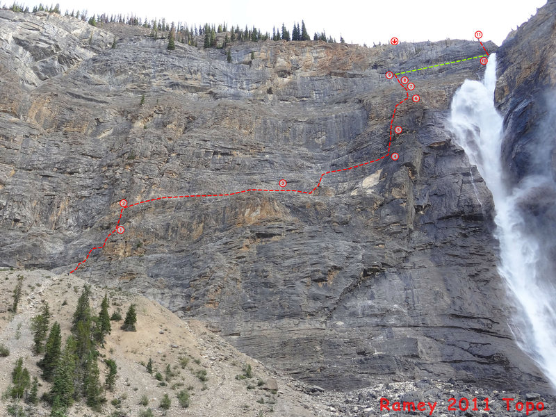 Photo topo - Ramey 2011<br> Belay 3 is approximate since there are multiple stations, 3a and 4a are omitted for clarity. From station 2, just simul to 4a or 4 or scramble to the end of the rope and find the closest station as there are several to choose from.