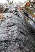 Rock Climbing Photo: Tim getting to grips with the crux on The Voices T...