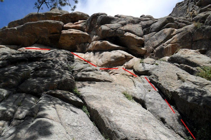 """The approximate route -- note the diagonalling traverse up and left at the top of the crack to get to the """"Anything"""" anchors."""