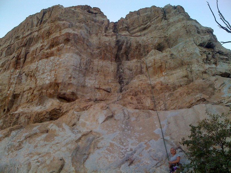 Nice shot of the right 1/3 of cave wall from Broken Dreams on left to Pali Gap on right. The rope is running up Divorce Therapy.