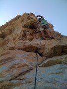 Rock Climbing Photo: Me leading Pali Gap.