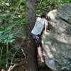 """TJ on the FA of the """"Bicentennial Arete"""" on the LRT in Grayson Highlands<br> <br>"""