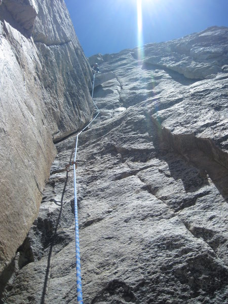 Pitch 1 of Open Book, 3 pitch 5.9, Tahquitz Rock, Idyllwild, CA