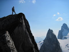 Rock Climbing Photo: An oldie. Atop Snowpatch spire, The Bugaboos, BC. ...