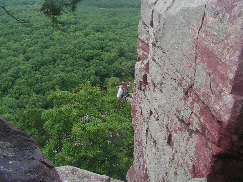 Rock Climbing Photo: Corey Vanluchene repelling down Briton's corner.  ...