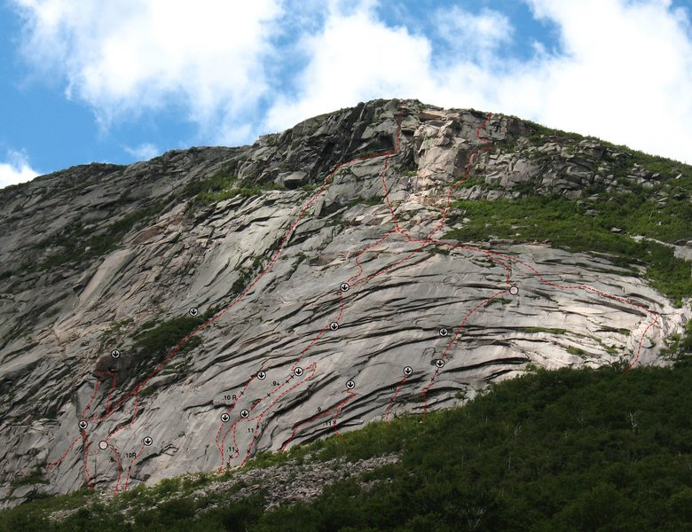 Rock Climbing Photo: This is a topo of the slabs I've been working on. ...