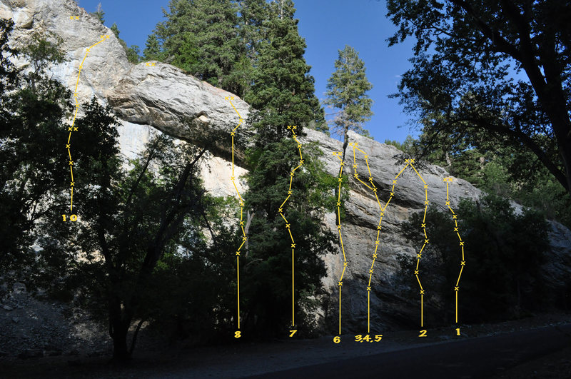 Rock Climbing Photo: This is a beta photo of the lower wall. There are ...