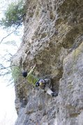 Rock Climbing Photo: Shige making the first clip on the extension over ...