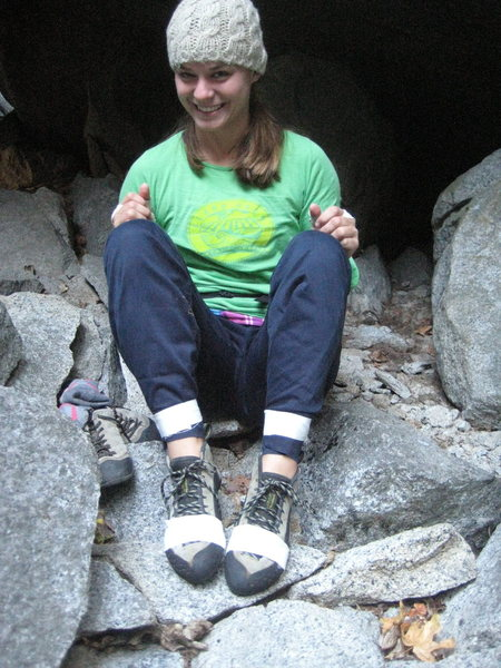 Rock Climbing Photo: Christina all taped up and ready for some upside-d...