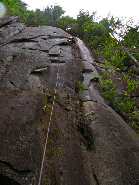 Rock Climbing Photo: Jake on Gorilla My Dreams in a light rain
