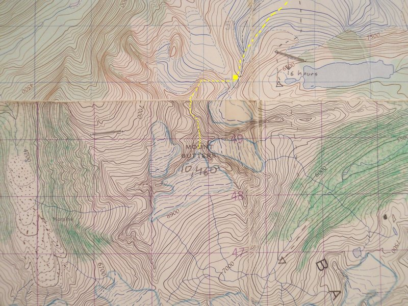 MOUNT BUTTERS<br> STANFORD ROUTE<br>  <br> contour interval 100 feet<br> <br>