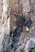 Rock Climbing Photo: David works his way up Bob's Buttress Crack on lea...