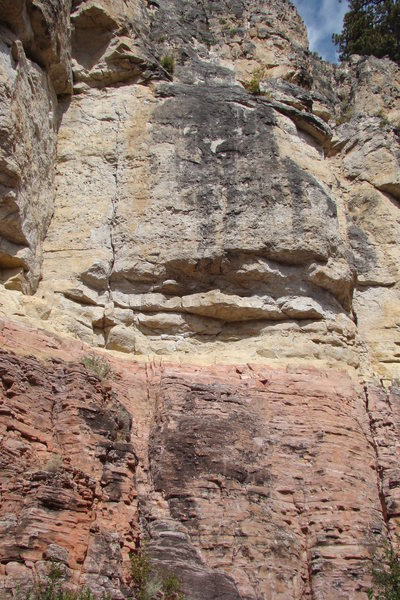 Astro Pop, 5.11b.<br> First Wall.<br> Sunshine Wall, Spearfish Canyon.