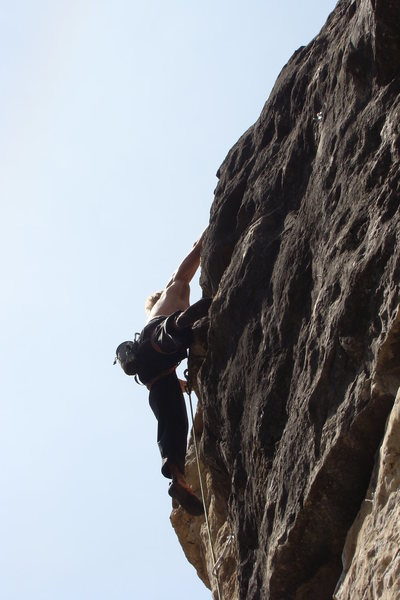 Hopeful Monsters, 5.13c<br> Land of the Shorties.<br> Sunshine Wall, Spearfish Canyon.