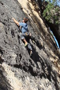 Rock Climbing Photo: Reaching for the sanctuary of a nice, big ole pock...