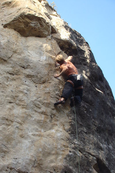 Jamie Coin on Hopeful Monsters, 5.13c<br> Land of the Shorties<br> Sunshine Wall<br> Spearfish Canyon