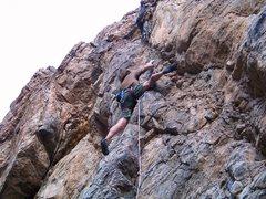 Rock Climbing Photo: Derek finishing clean on his onsite!