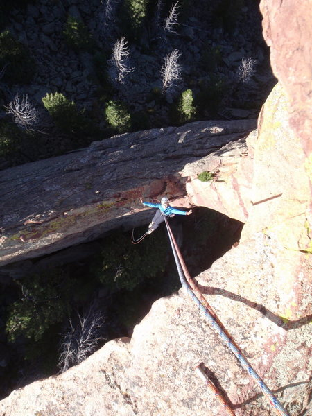 Looking down on the rappel