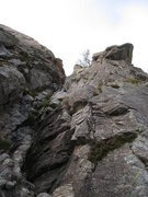Rock Climbing Photo: Looking up at the 1st pitch.  Climb in the gulley ...