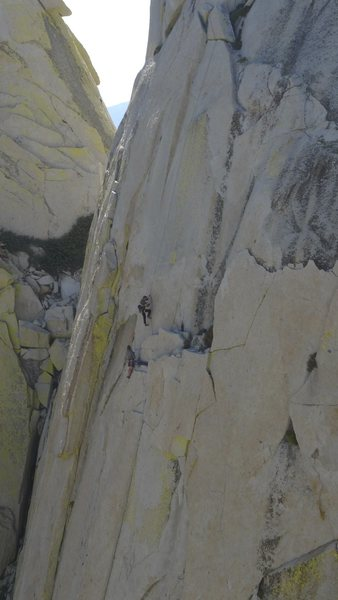 Rock Climbing Photo: climbers at the first belay on Fancy Free.  The la...