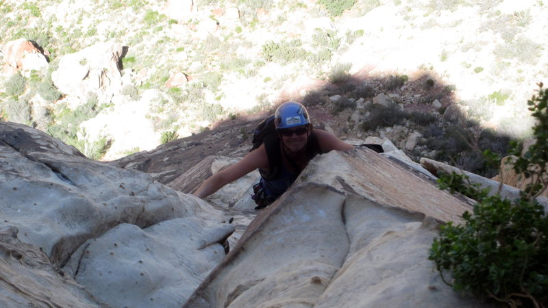 Making my way up Frogland in Red Rocks, Nevada.