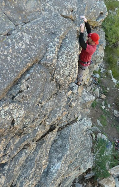Taylor starting up Comunity Service (5.10a), 8000 Foot Crag