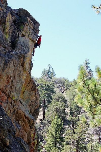 Jason high above it all on Out of Sight (5.10b), 8000 Foot Crag